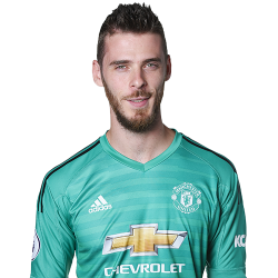 Picture of the 1.92 m (6 ft 4 in) tall Spanish goalkeeper of Manchester United