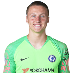 Picture of the 1.99 (6ft 6in) tall Polish goalkeeper of Chelsea