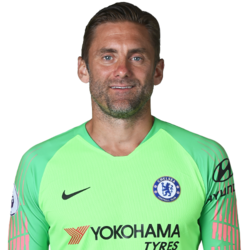 Picture of the 1.88 m (6 ft 2 in) tall English goalkeeper of Chelsea