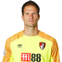 Picture of the 1.99 m (6 ft 6 in) tall Bosnian goalkeeper of Bournemouth