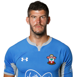 Picture of the 2.01 m (6 ft 7 in) tall English goalkeeper of Southampton