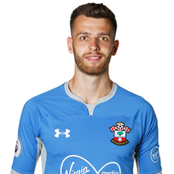 Picture of the 1.96 m (6 ft 5 in) tall English goalkeeper of Southampton
