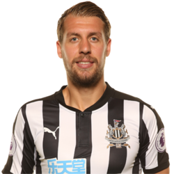 Picture of the 1.90 m (6 ft 3 in) tall French centre back of Newcastle United