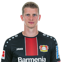 Picture of the 1.85 m (6 ft 1 in) tall German defensive midfielder of Bayer Leverkusen