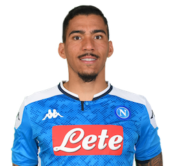 Picture of the 1.75 m (5 ft 9 in) tall Brazilian  central midfielder of S.S.C. Napoli