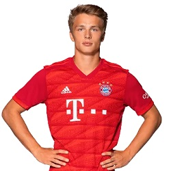 Picture of the 1.84 m (6 ft 0 in) tall German centre forward of Bayern Munich