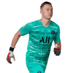 Picture of the 1.99 (6ft 6in) tall Polish goalkeeper of Paris Saint-Germain