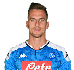 Picture of the 1.86 m (6 ft 1 in) tall Polish centre forward of S.S.C. Napoli