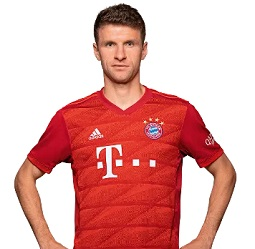 Picture of the 1.86 m (6 ft 1 in) tall German centre forward of Bayern Munich