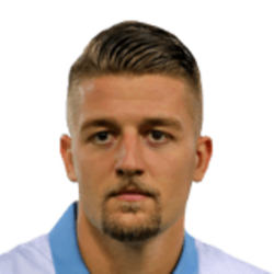 Picture of the 1.91 m (6 ft 3 in) tall Serbian midfielder of S.S. Lazio