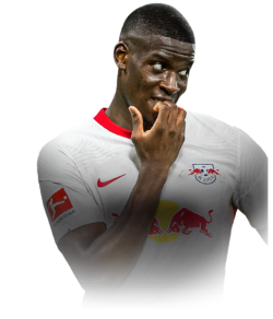 Picture of the 1.87 m (6 ft 2 in) tall French defender of RB Leipzig